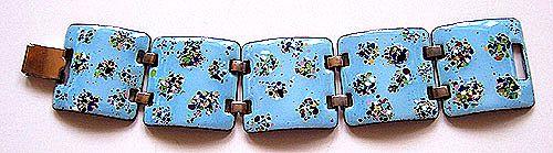 Vintage Copper Enamel Link Bracelet ~ Blue w/ Multicolor Speckles
