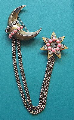 Crescent Moon & Star Chatelaine Pins ~ Coral-Colored Glass Cabs & Clear Pastes