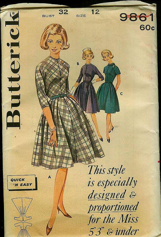 Uncut 1950s/60s Butterick Dress Sewing Pattern ~ Size 12
