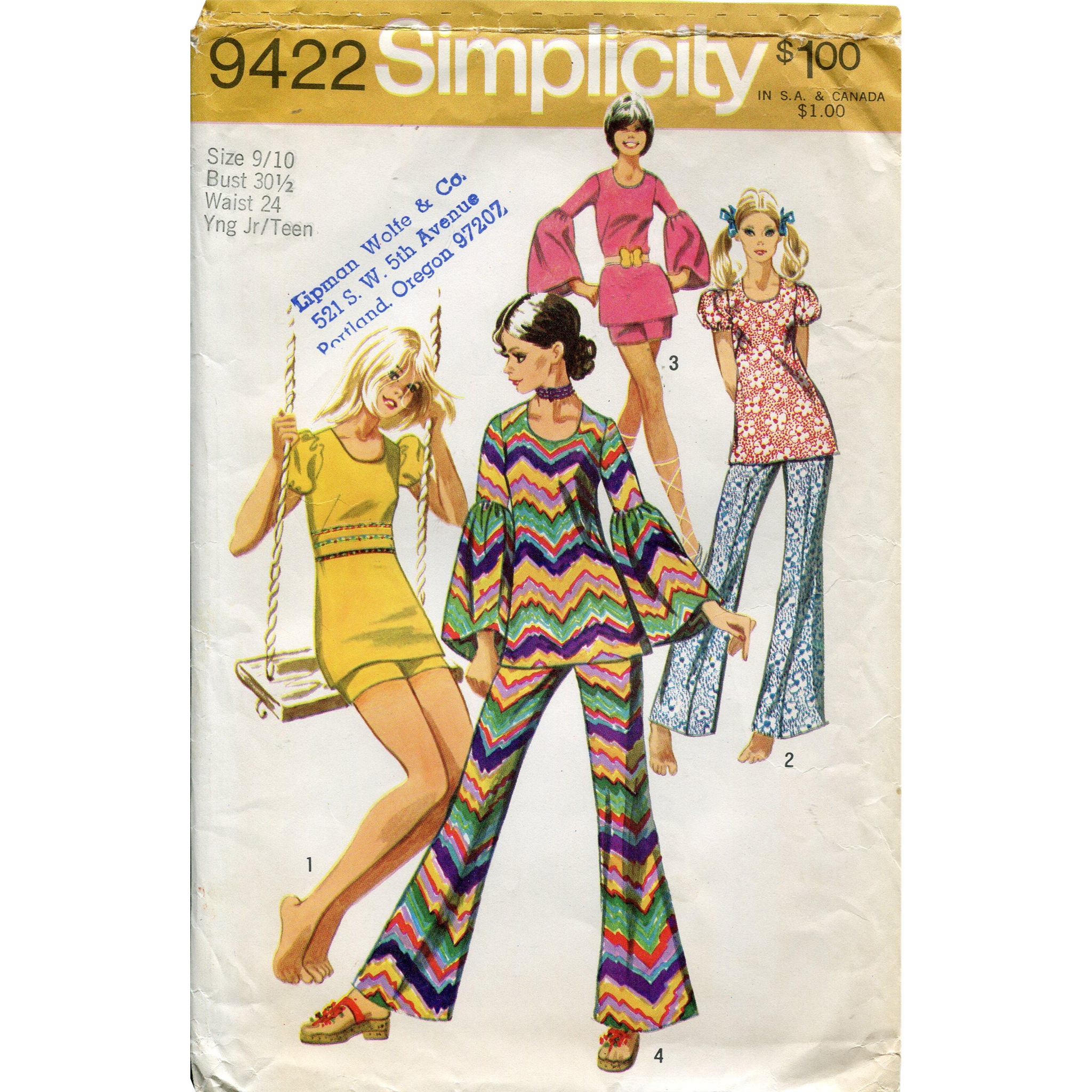 1970s Simplicity Pattern 9422 ~ Young Junior/Teen's Bell-Bottom Pants or Shorts and Tunic, Vintage Size 9/10 (Bust 30 1/2)