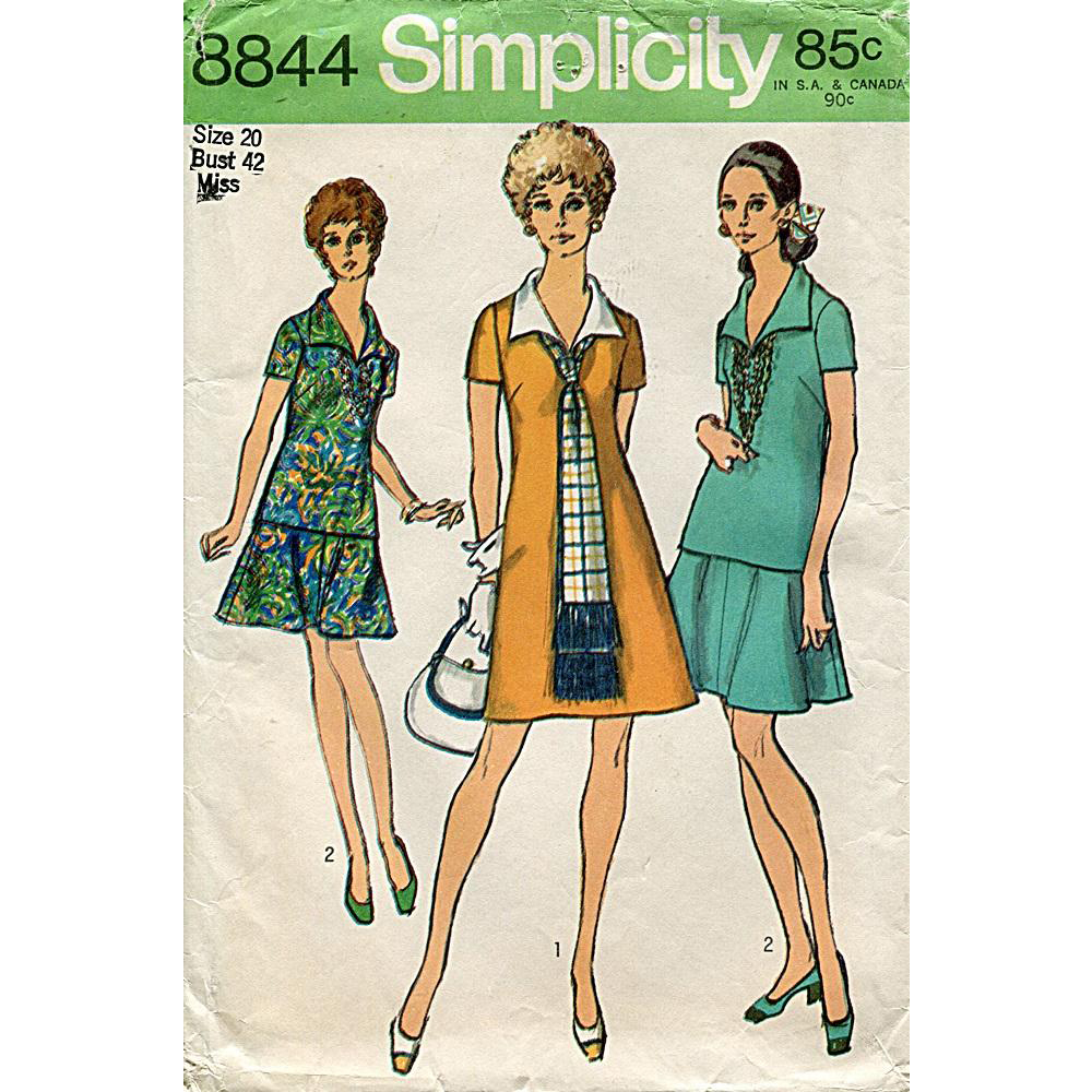 Uncut 1970s Simplicity Pattern 8844 ~ Dress or Overblouse, Skirt and Scarf, Vintage Size 20 (Bust 42)