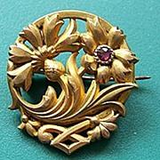 "French Art Nouveau Scottish Thistle & Garnet Pin Marked ""Fix"""