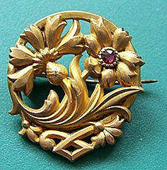 "French Art Nouveau Scottish Thistle & Garnet Pin Marked ""Fix"""