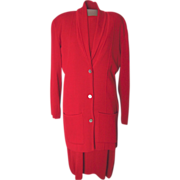 Vintage Dana Buchman Red Knit Dress and Jacket