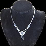 Vintage Light Blue Rhinestone Necklace