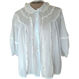 Vintage Rogers Light Blue Bed Jacket with White Lace