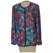 Vintage Silk Sequin  and BeadedJacket