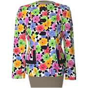 Vintage Bright Colored Flower Jacket by Herbert Grossman