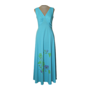 Vintage Miss Rubette Long Turquoise Dress with Flowers