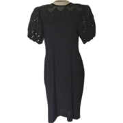 Vintage Petite Black Dress with Black Ribbon and Sequins