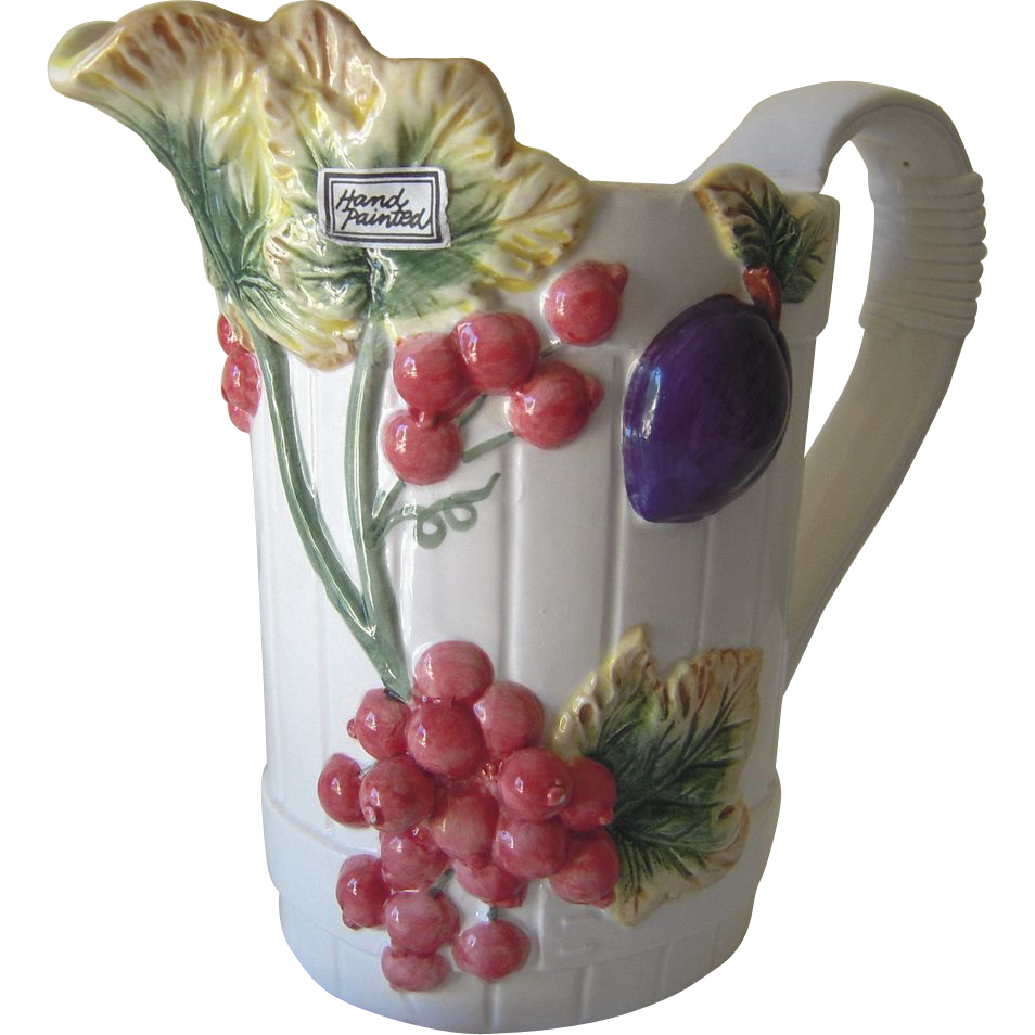 Vintage Handpainted Ceramic Fruit Pitcher From Beca On