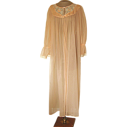 Vintage Peach Sheer Robe with Lace and Applique