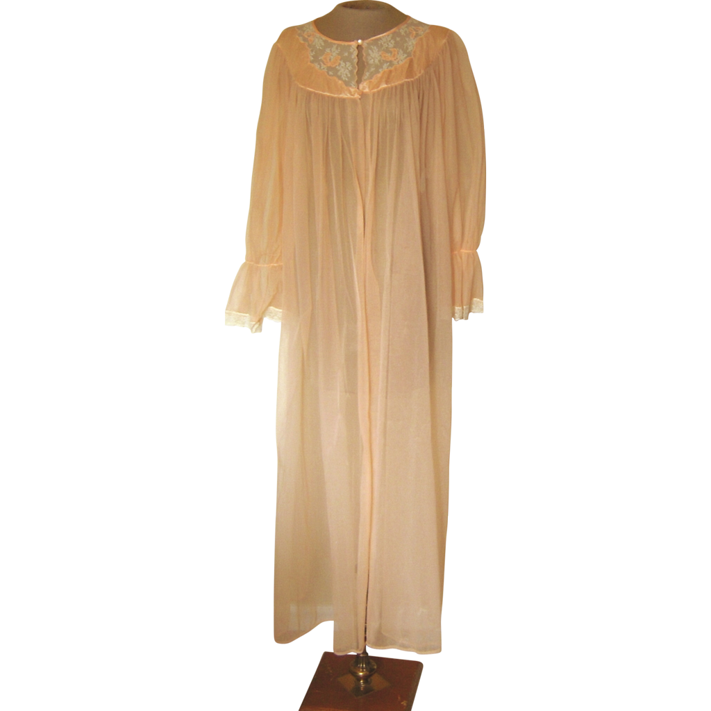 vintage peach sheer robe with lace and applique from beca With peach robe