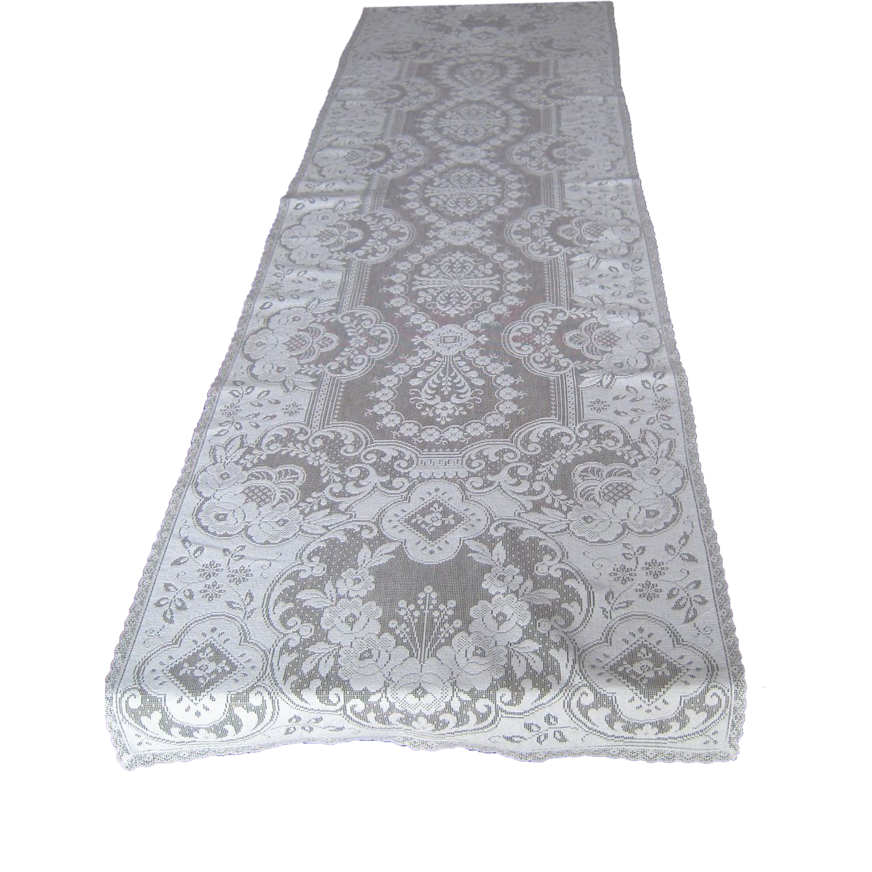 BOXAN 30x Inch White Classy Lace Table Runner/Overlay with Rose Vintage Embroidered, Rustic Boho Wedding Reception Table Decor, Fall Thanksgiving Christmas Baby & .