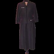 Vintage Ann Kaufman Charcoal Gray Dress and Jacket