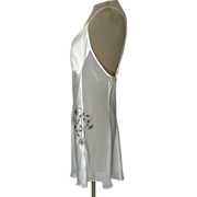 Jones of New York White Short Nightgown with Black Embroidery and Sheer Panels