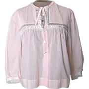 Vintage Light Pink Lightweight Bed Jacket with Lace