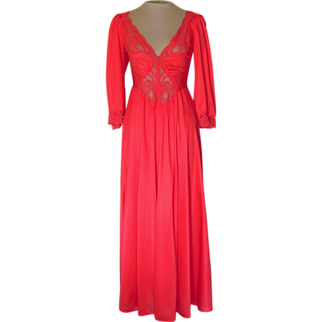 Vintage Red Olga Nightgown with Sleeves- no. 92350