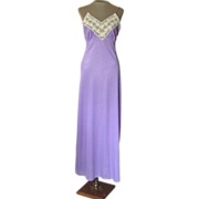 Vintage Val Mode Long Lavender Nightgown with Cream Lace