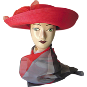 Red Betmar Straw Hat with Red Flowers