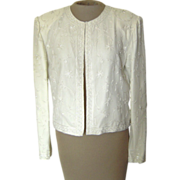 Vintage Scala Off-White Silk Beaded Jacket