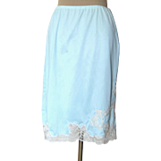 Vintage Light Blue Half Slip with Gorgeous LAce