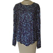 Vintage Silk Blue Sequined and Beaded  Top by Night Vogue