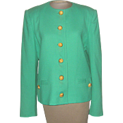 Vintage Bright Green Herbert Grossman by Cynthia Sorbel Short Jacket with Gold Buttons