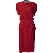Red Silk Beaded Oleg Cassini Silk Dress