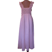 Pink Tea Length Cinema Etoile Nightgown with Lace Bodice and Lace Straps