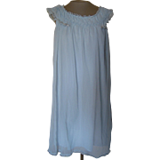 Vintage Light Blue Short Nightgown with Smocking