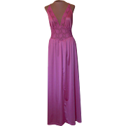 Vintage Raspberry-Colored Long MG Nightgown with Lace