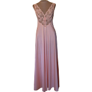 Vintage Peach Olga Nightgown with Lace Bodice and Lace Back
