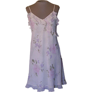 Valerie Stevens Short Pastel Flowered Nightgown Made in Hong Kong