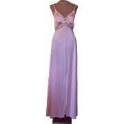 Vintage Peach Vassarette Long Nightgown with Pretty Lace