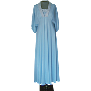 Vintage Light Blue Movie Star Long Matching Nightgown and Robe with White Embroidered Trim