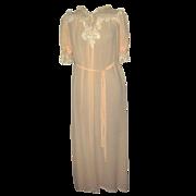 Vintage Hand Sewn Bozart Peach Chiffon Nightgown