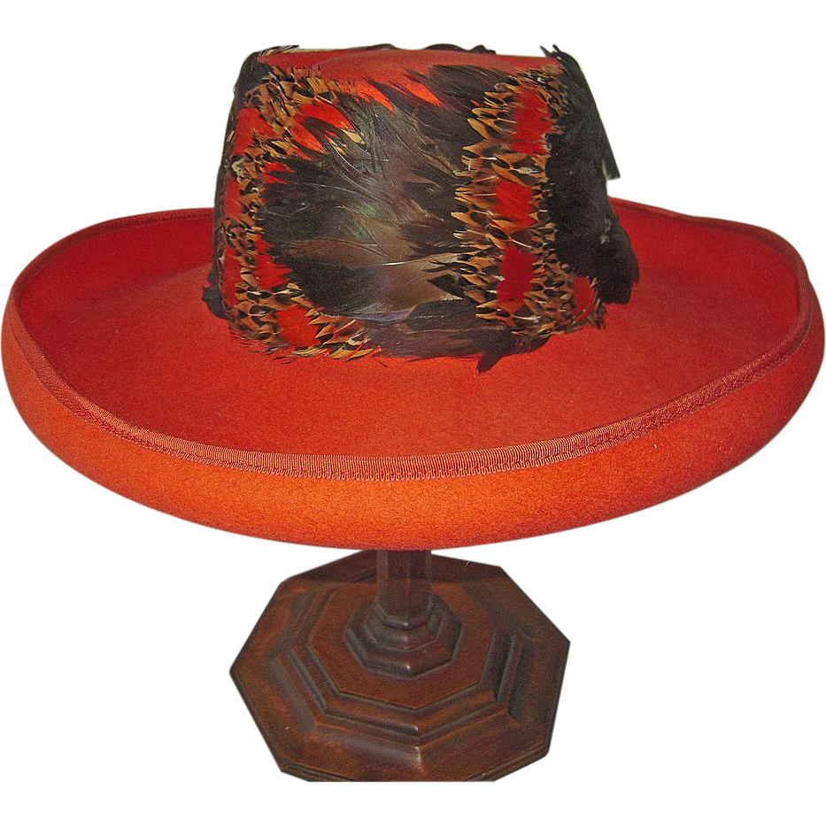 Vintage Mr. John Burnt Orange Felt Hat with Feathers