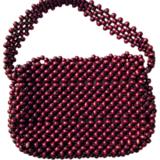 Walborg Brown Beaded Purse Handmade in Japan