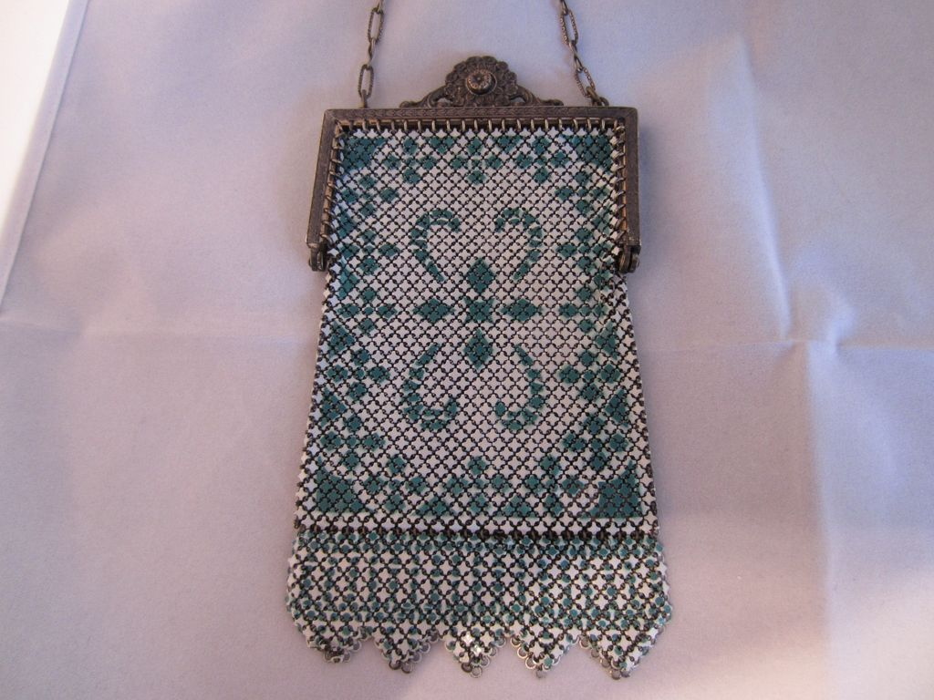 Mandalian Mesh and Enamel Purse