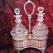 English Crystal and Silverplate Decanter Stand