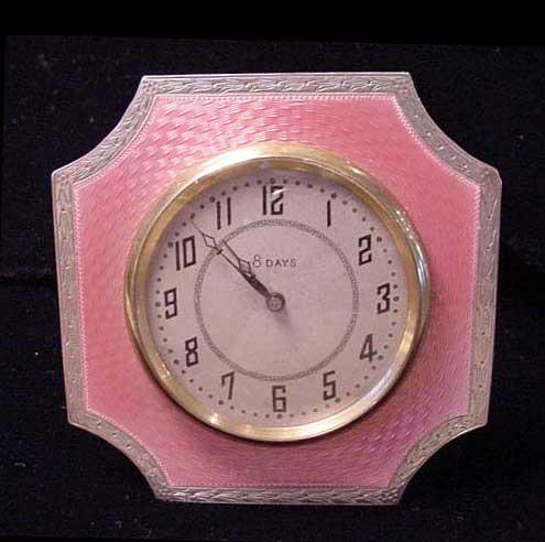 English Pink Guilloche Enamel Sterling Clock