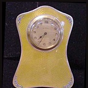 English Guilloche Yellow Enamel Sterling Clock