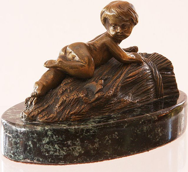Bronze Nude Child on Sheaf of  Wheat