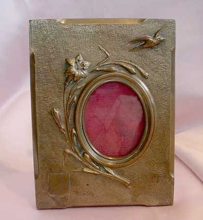 Victorian Bronze Picture Frame with Bird