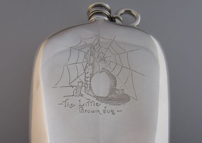 """Sterling Silver """"The Little Brown Jug"""" Flask"""