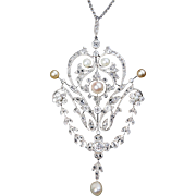 Belle Epoque Era Diamond and Natural Pearl Pendant
