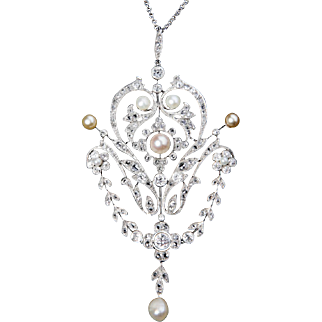 Belle Epoque Era Diamond and Natural Pearl Pendant