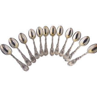 "Set of 12 Tiffany ""Chrysanthemum"" Pattern Spoons"
