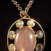 Art Deco 14K Gold Moonstone & Rose Quartz Cabochon Pin/Pendant